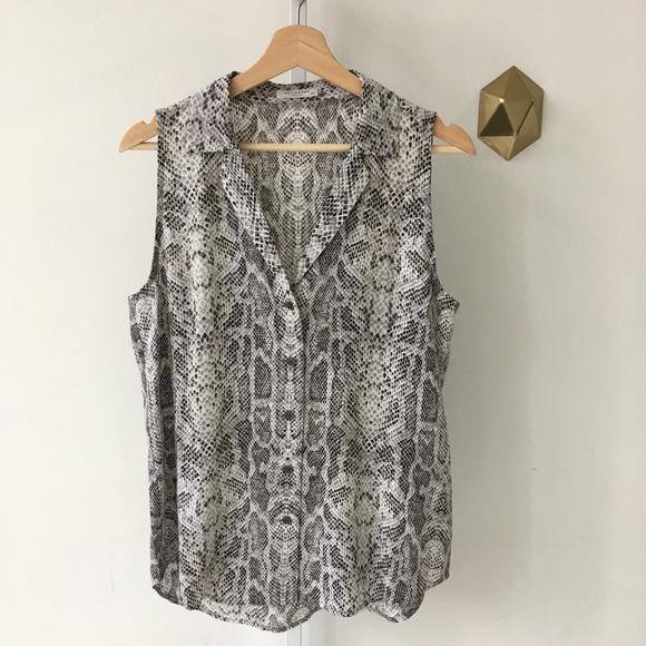 d0ce3839245e Equipment Tops   Femme Silk Sleeveless Snakeskin Shirt S   Poshmark
